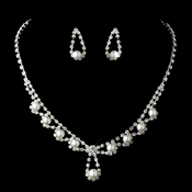 Silver White Necklace Earring Set 12224