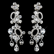 Antique Silver Clear Rhinestone Earrings 23211