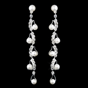 Silver White Pearl & Clear Rhinestone Dangle Earrings 20948