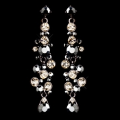 Antique Gold Brown & Champagne Rhinestone Drop Earrings 9961