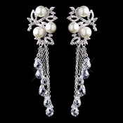 Silver White Pearl & Clear Crystal Bead Dangle Earrings 9004