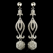 Antique Silver Clear Rhinestone Dangle Chandelier Earrings 8946
