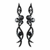 Antique Silver Black Rhinestone Dangle Earrings 8942