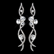 Antique Silver Clear Rhinestone Dangle Earrings 8942