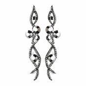 Antique Silver Hematite Smoked Rhinestone Dangle Earrings 8942