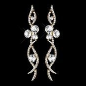 Gold Clear Rhinestone Dangle Earrings 8942