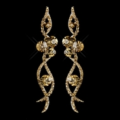 Gold Lt Brown Rhinestone Dangle Earrings 8942