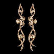 Rose Gold Champagne Rhinestone Dangle Earrings 8942