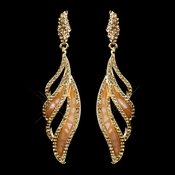 Gold Orange Rhinestone Dangle Earrings 8941