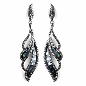 Hematite Black Rhinestone Dangle Earrings 8941