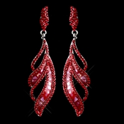 Red Rhinestone Dangle Earring 8941