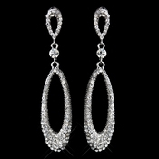 Antique Silver Clear Rhinestone Dangle Earrings 8943***Discontinued***
