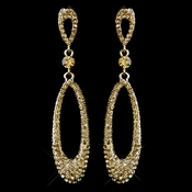 Gold Lt Brown Rhinestone Dangle Earring 8943