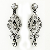 Clear Crystal Post Dangle Earrings with Black Plating 8705
