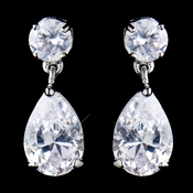Antique Rhodium Silver Clear CZ Tear Drop Earrings 8581