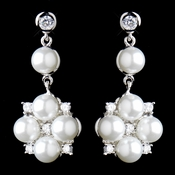 Antique Rhodium Silver Clear CZ Crystal & White Pearl Drop Flower Earrings 8579