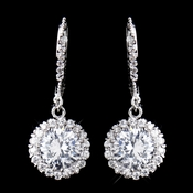 Antique Rhodium Silver Clear CZ Pave Circle Drop Lever Back Earrings 8582