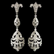 Antique Rhodium Silver Clear CZ Crystal Drop Earrings 5508