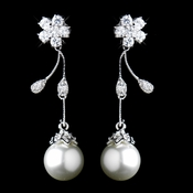 Antique Rhodium CZ Crystal & Diamond White Pearl Drop Earrings 4015