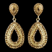 Gold Lt Brown Rhinestone Drop Earrings 1056