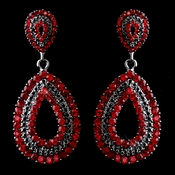 Antiques Silver Red Rhinestone Earrings 1056