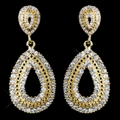 Gold Clear Rhinestone Drop Earrings 1056