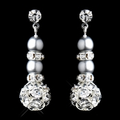 Silver Cloud Rondelle Pearl Drop Earrings 8751