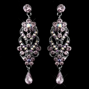 Antique Silver Amethyst Dangle Earrings E 1027