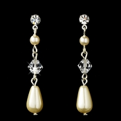 Elegant Silver Clear Crystal & Rhinestone Dangle Earrings w/ Ivory Pearls Earring 8146