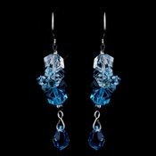 Bridal Aqua Crystal Earrings E 8259