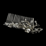 Antique Silver Clear Crystal & Rhinestone Comb 3644
