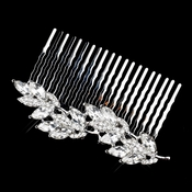 Antique Silver Clear Rhinestone Leaf Comb 5553***Discontinued***