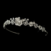 Antique Silver Clear Rhinestone Flower Rose Tiara Headpiece 869