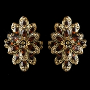 Gold Brown Rhinestone Clip On Earrings 8944