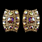 Gold with AB & Lt Brown Rhinestone Clip On Earrings 8947***Only 1 Left***