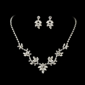 Necklace Earring Set NE 7601 Silver Clear