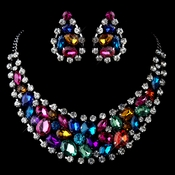Multi Colored Rhinestone Necklace & Earrings Set 6571