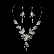 Necklace Earring Set NE 8280 Silver Clear