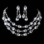 Silver Clear Rhinestone & Acrylic 3 Strand Necklace & Earrings Set 12059