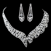 Silver Clear Rhinestone Necklace & Earrings Set 13397