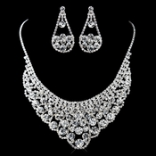 Silver Clear Rhinestone Necklace & Earrings Set 13424