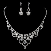 Silver Clear Rhinestone Necklace & Earrings Set 13431