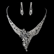 Silver Clear Rhinestone Necklace & Earrings Set 13434