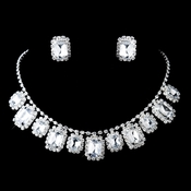 Silver Clear Rhinestone Necklace & Earrings Set 47042