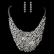 Antique Silver Clear Rhinestone Necklace & Earrings Set 9963