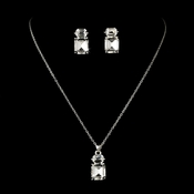 Silver Clear Emerald Cut Crystal Necklace & Earrings Jewelry Set 71698
