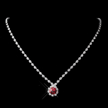Silver Red & Clear Round Rhinestone Necklace 0511