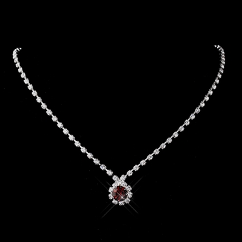 Silver Ruby & Clear Round Rhinestone Necklace 0511