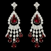 Silver Clear & Burgundy Rhinestone Chandelier Earrings 24792