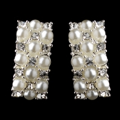 Silver & White Pearl Clip On Earrings E 20613